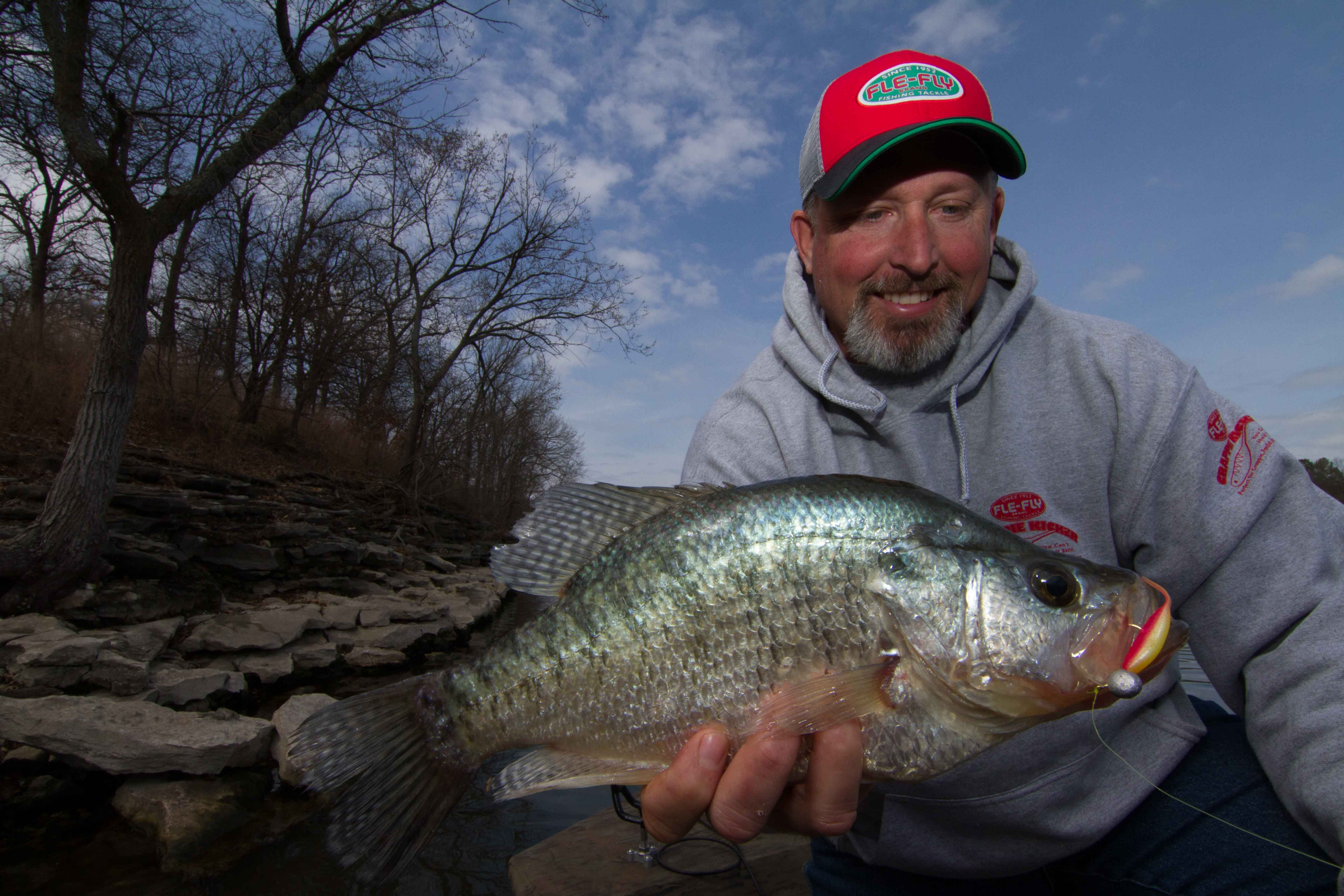 Jeff Williams with crappie caught on Crappie Kicker
