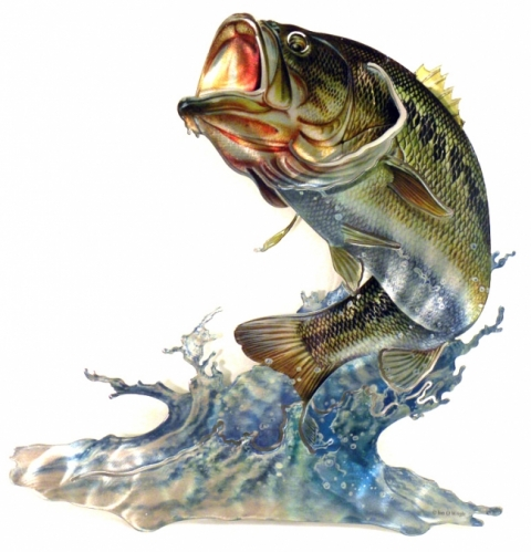 The hunt is on 3d steel reflective wall art outdoor blog for Bass fishing 3d